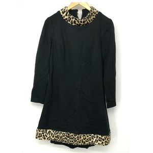 Eve Le Coq VTG Dress Black Wool Lined Leopard Prin